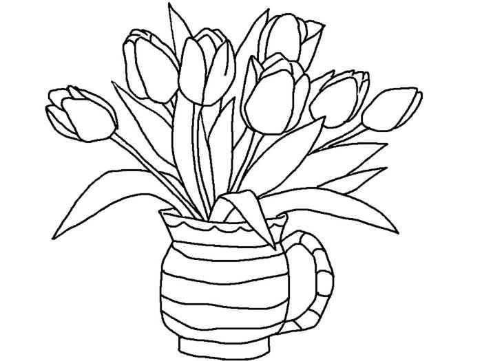 coloriage enfant maternelle de tulipes dans un vase exemple d activié manuelle pour tout petit à imprimer