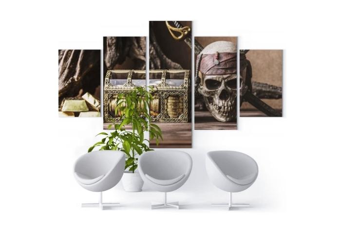 comment décorer les murs du salon idée déco murale avec tableau crâne pirate
