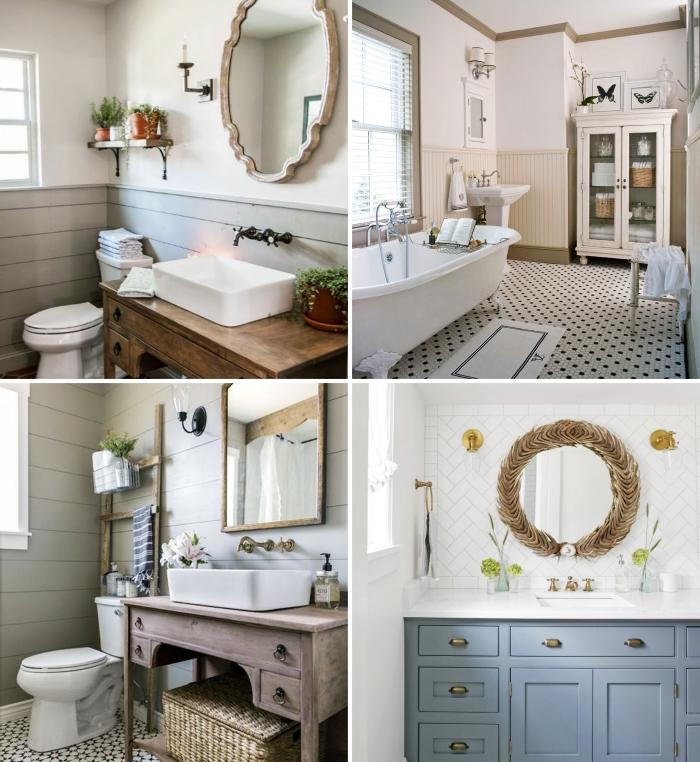 comment décorer sa salle de bain style campagne couleurs neutres meubles bois rustiques