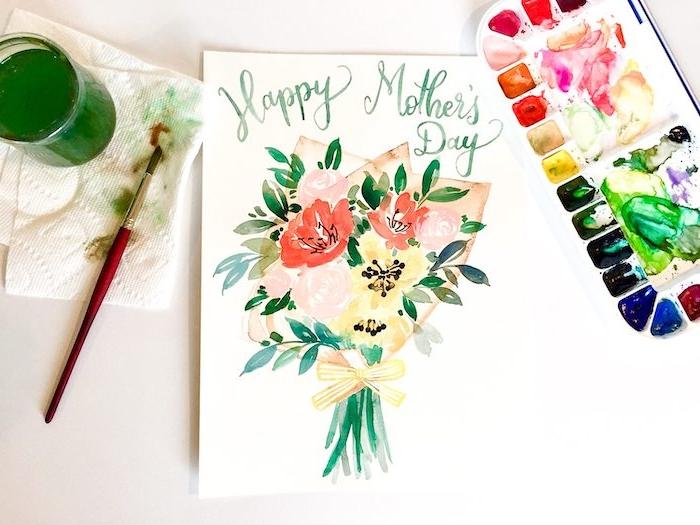 comment dessiner en quarelle bouquet sur une carte fete des mères