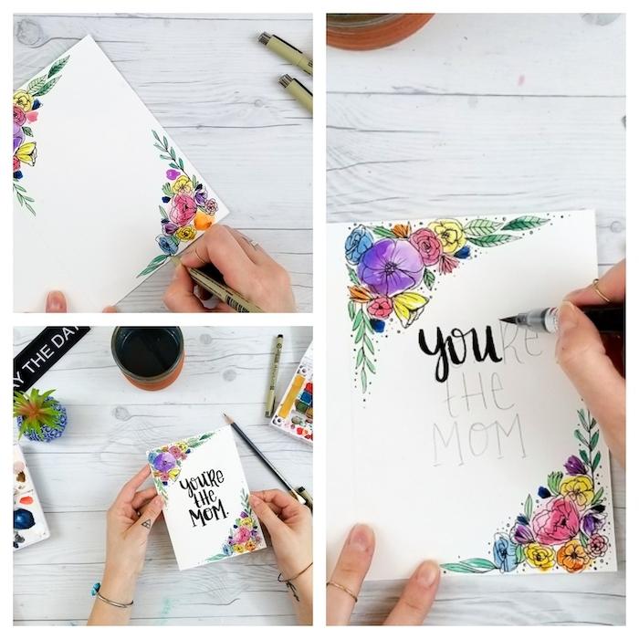 comment dessiner et ecrire un message sur)carte fete de maman