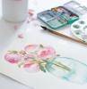 comment dessiner une carte a l aquarelle avec des fleurs une fleur rose dans une tasse