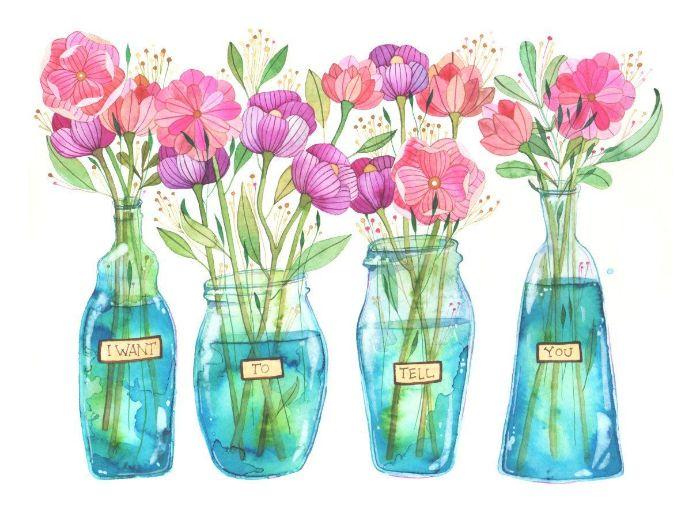 comment dessiner une fleur petits bouquets chameptres printaniers dans des vases de verre sur fond blanc