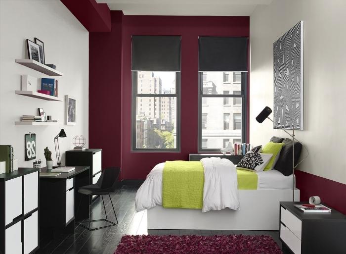 comment disposer 2 couleurs dans une chambre d etudiant couleur bordeaux peinture murale rangement