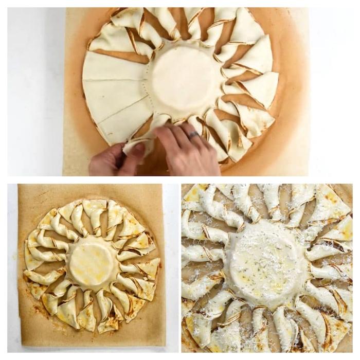 comment faire une tarte soleil au camember et pate feuilletée etapes a poursuivre