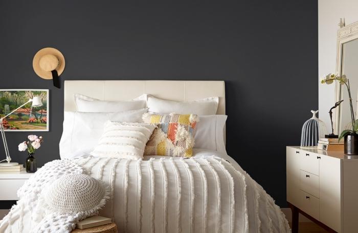 couleur mur chambre décoration pièce mur gris anthracite peinture tete de lit blanche coussins patchwork