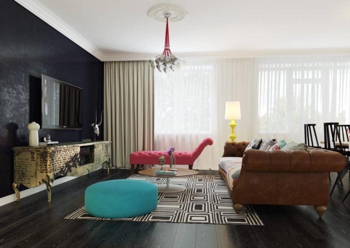 couleur mur salon décoration canapé marron peinture a effet noir pouf turquoise rideaux beige