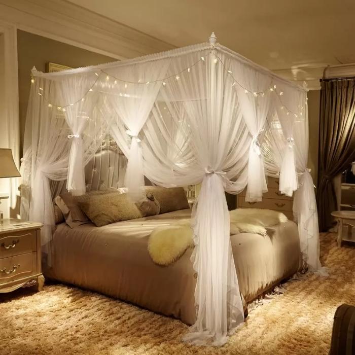 couleurs chambre a coucher adulte peinture neutre couleur beige meubles bois lit baldaquin
