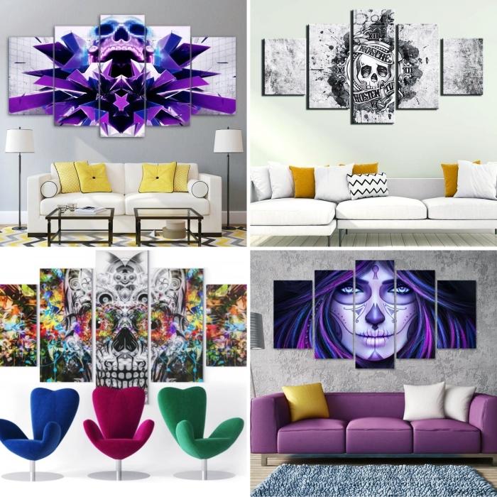 couleurs tendance intérieur meuble canapé blanc tableau tête de mort crâne art déco murale