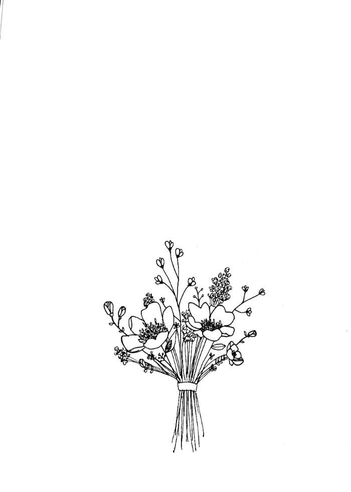 croquis floral aux contours arrondis brins noués d un lacet composition naturelle