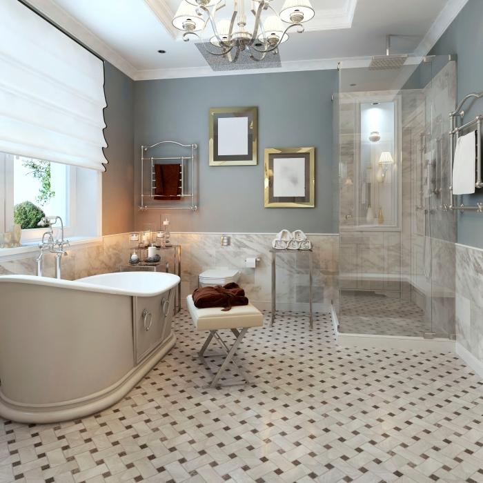 décoration maison de campagne chic revetement de sol carrelage cabine de douche baignoire