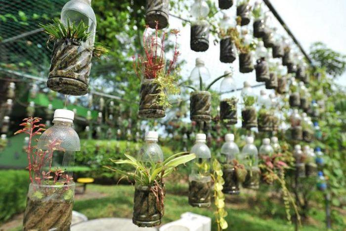 deco ardin recup en bouteilles de plastiques avec des fleurs pour cloturer un jardin espace exterieur