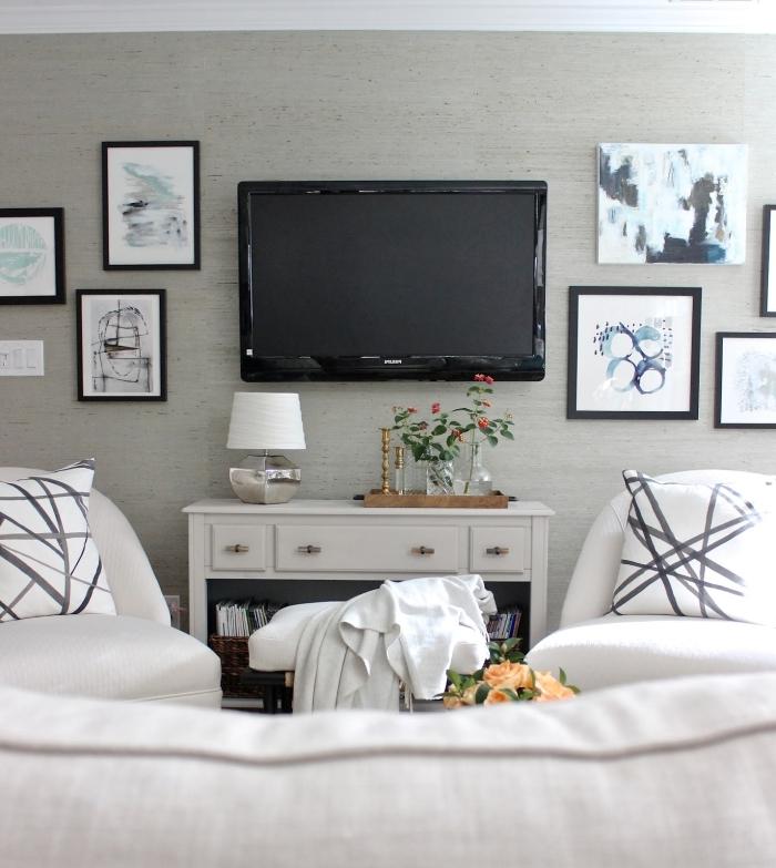 deco mur tv design moderne revêtement mural papier peint a effet déco mur de cadres photos noirs