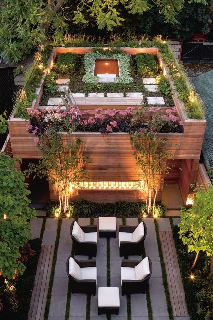 decoration exterieur jardin moderne aménagement sur niveaux éclairage petit lac végétation jardinière