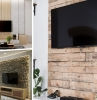 decoration murale derriere tv revetement bois parement pierre design salon moderne meubles bois