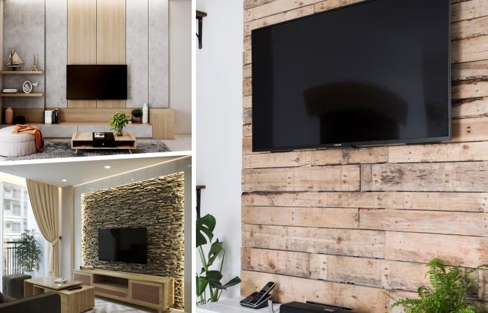 decoration murale derriere tv revetement bois parement pierre design salon moderne meubles bois