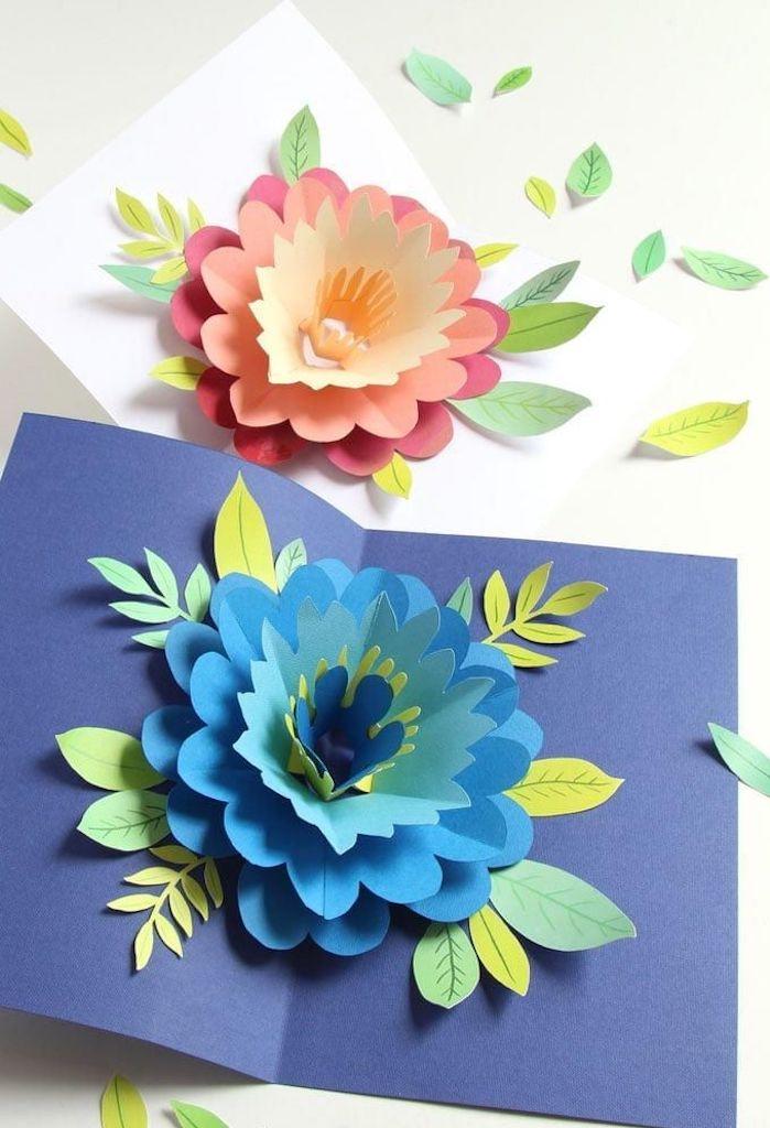 des jolies cartes pour la fete de mere avec des origami plies en dedans