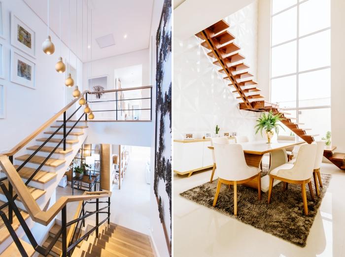 design intérieur conception moderne escalier bois et métal mur de cadres éclairage lampe suspendue laiton