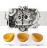 design salon moderne aménagement avec canapé couleur jaune tendance 2021 tableau coupe crâne