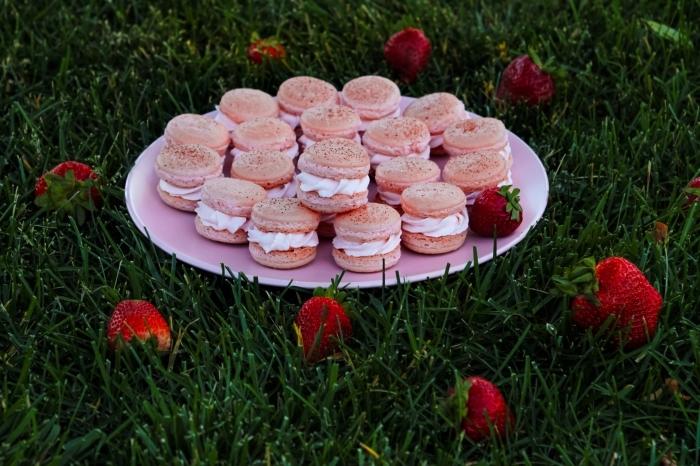 dessert pique nique macaroni fraises crème recette aux fruits rouges dessert printemps