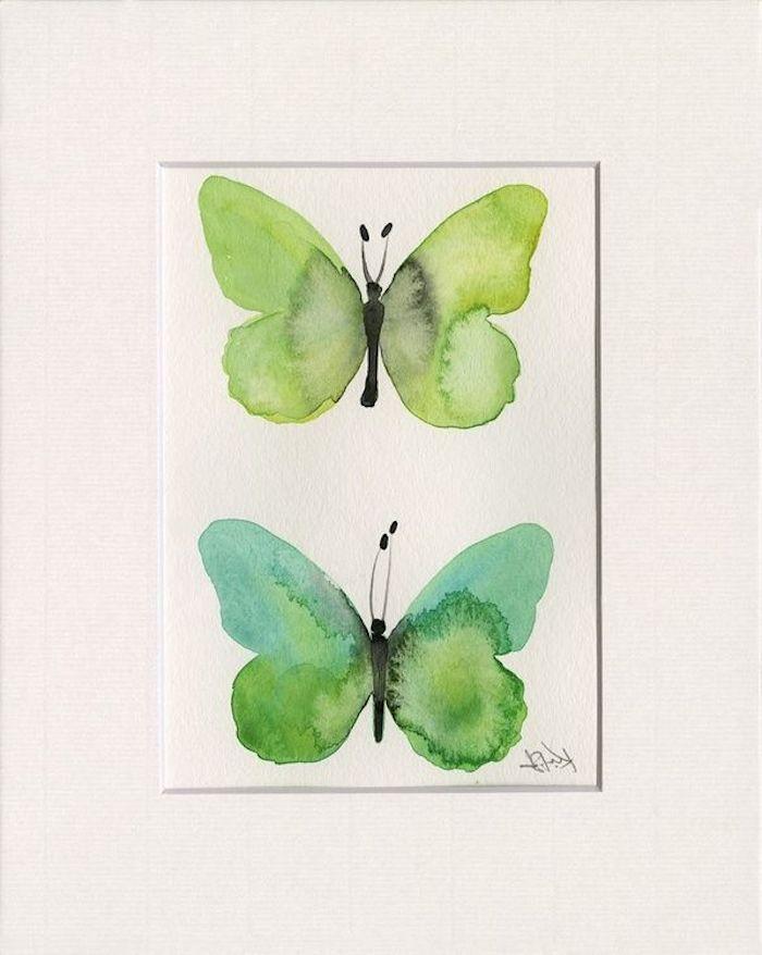 dessin a l auqrelle des papillons vertes sur une carte pour fete