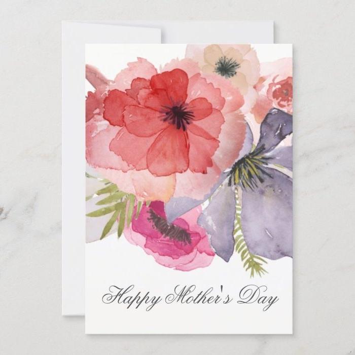 dessin aquarelle des fleurs sur une carte pour la fete de maman