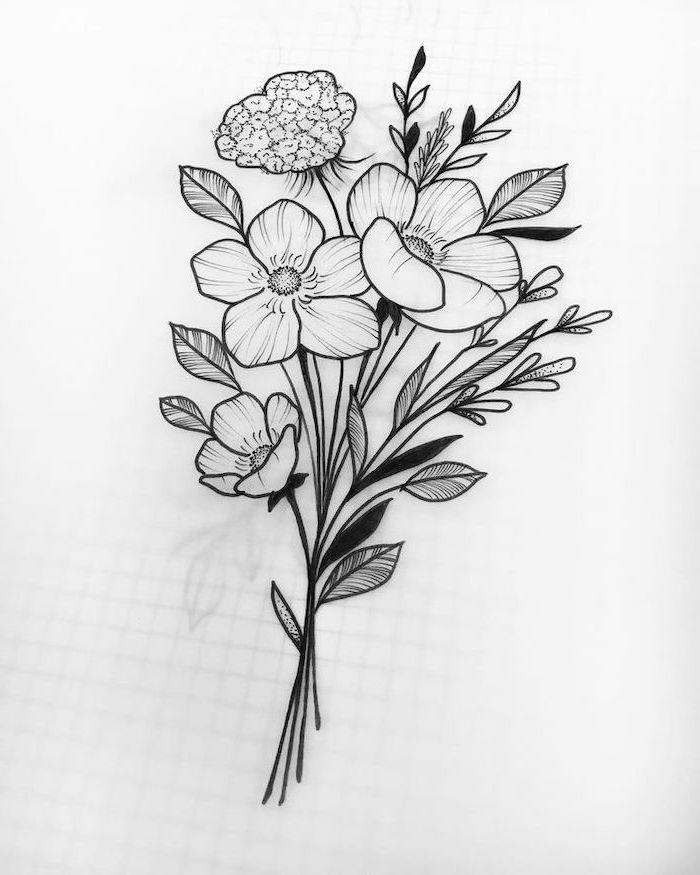 dessin bouquet de fleurs simple graphique sur fond blanc avec des espèces sauvages