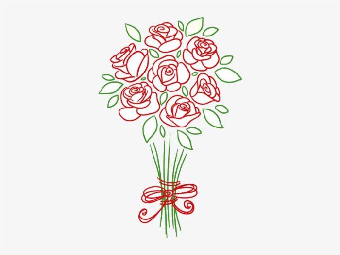 dessin de rose facile de couleurs rouges aux feuilles et tiges vertes d un trait et ruban rouge facile a dessiner