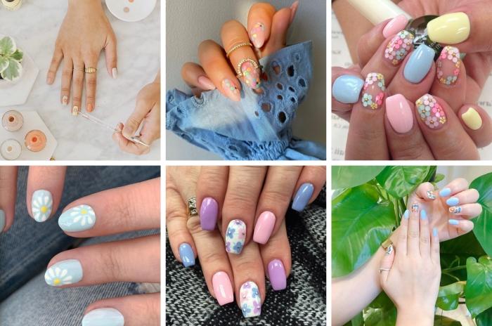 dessin fleur sur ongles manucure couleurs pastel printemps tendances ongles formes couleurs vernis