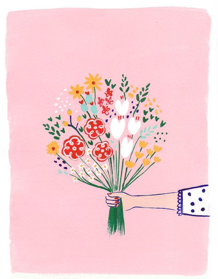 fabriquer une carte fête des mères à la peinture sur papier et fond rose image printemps créative
