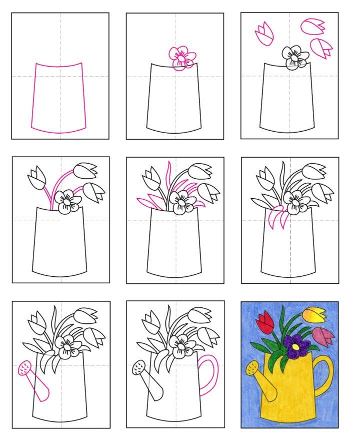 fleurs à dessiner étape par étape dans un arrosoir couleur jaune tulupes et autres fleurs
