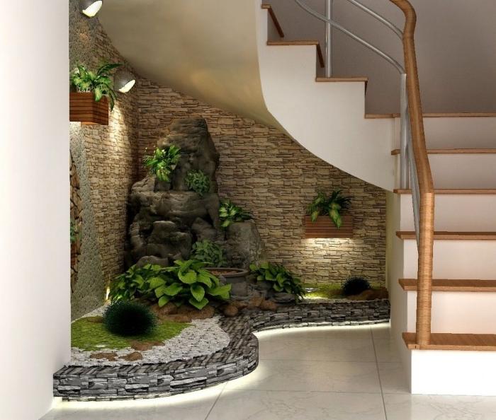 fontaine zen cache pot jardnière bois aménagement sous escalier ouvert plantes vertes éclairage