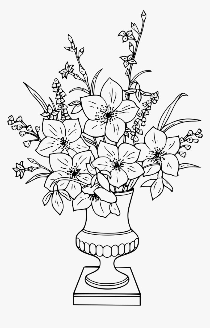 grand vase avec muguets et autres plantes printanières idée gabarit à imprimer et colorer aux crayons en maternelle primaire
