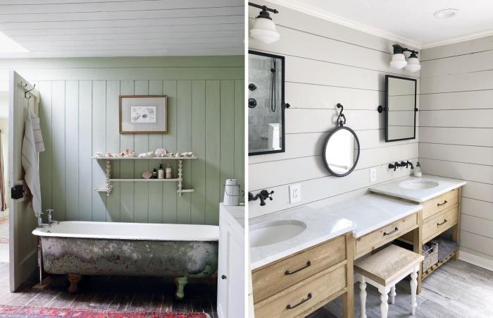 habillage mur panneaux bois vert aménagement salle de bain autoportante baignoire retro