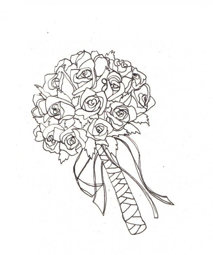idée bouquet de marié de roses enveloppées de ruban exemple coloriage fleur adulte
