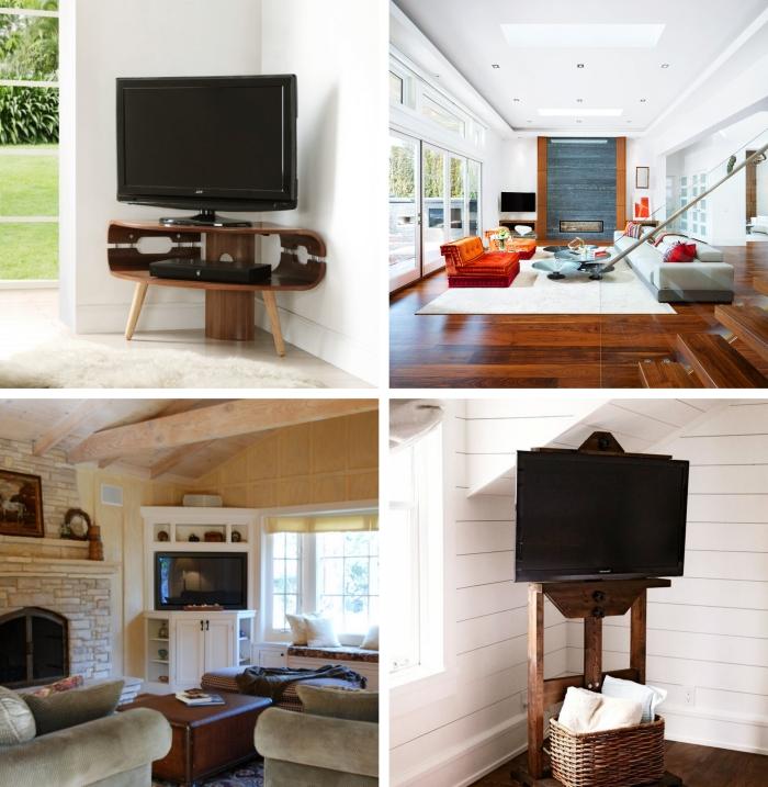 idée comment aménager un coin télé en angle déco meuble tv salon rustique avec cheminée