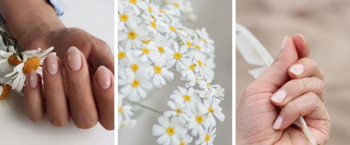 idée de manucure minimaliste base transparente finition mate dessin ongle facile fleur marguerite