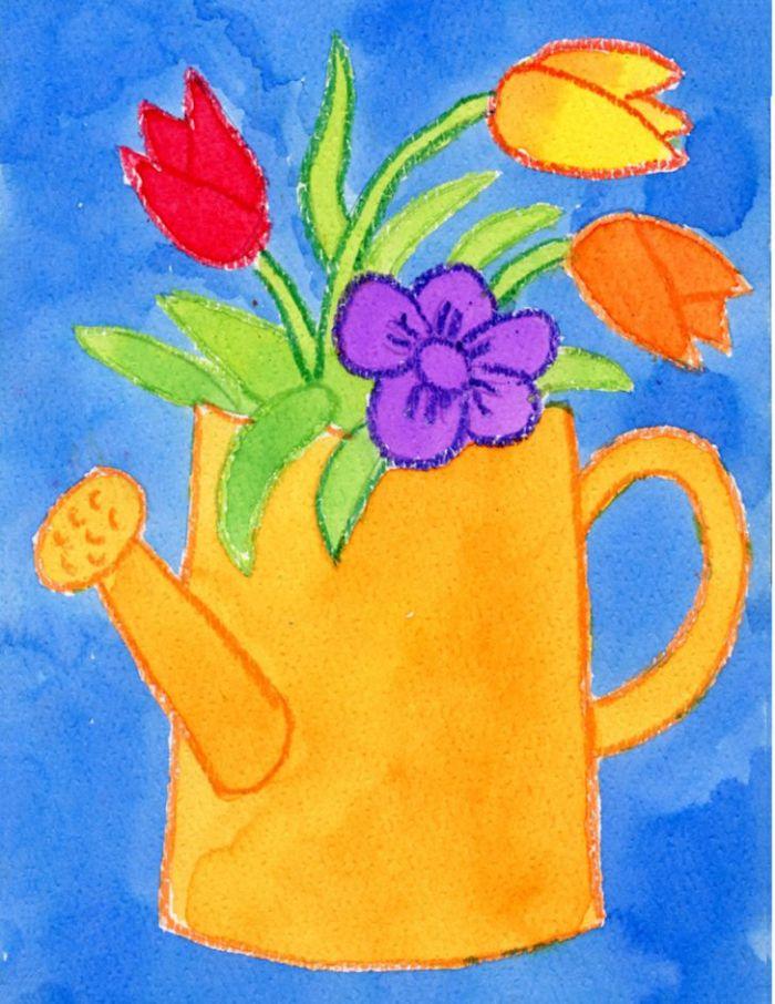 idée dessin enfant simple et rapide arrosoir jaune avec des fleurs de printemps colorées sur fond bleu