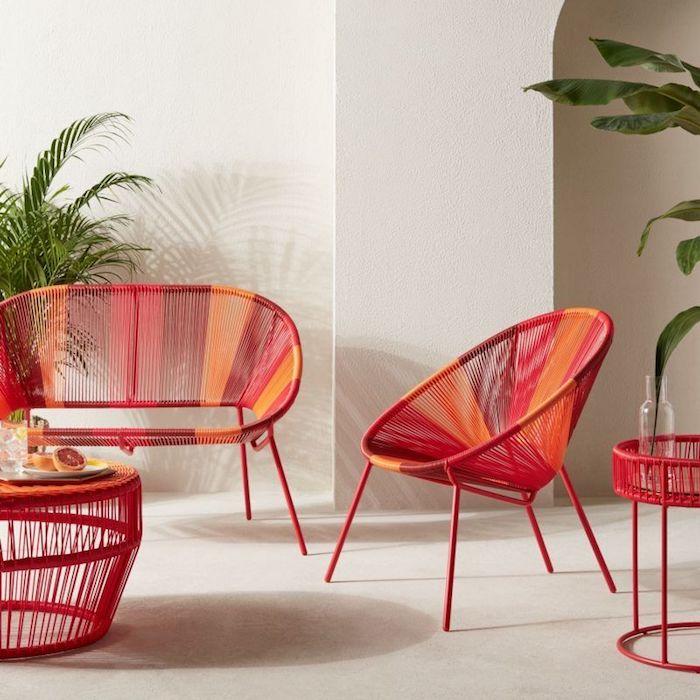 idée d un meuble vintage relooké a l aide de peinture ensemble des maubles en rotin peints en rouge