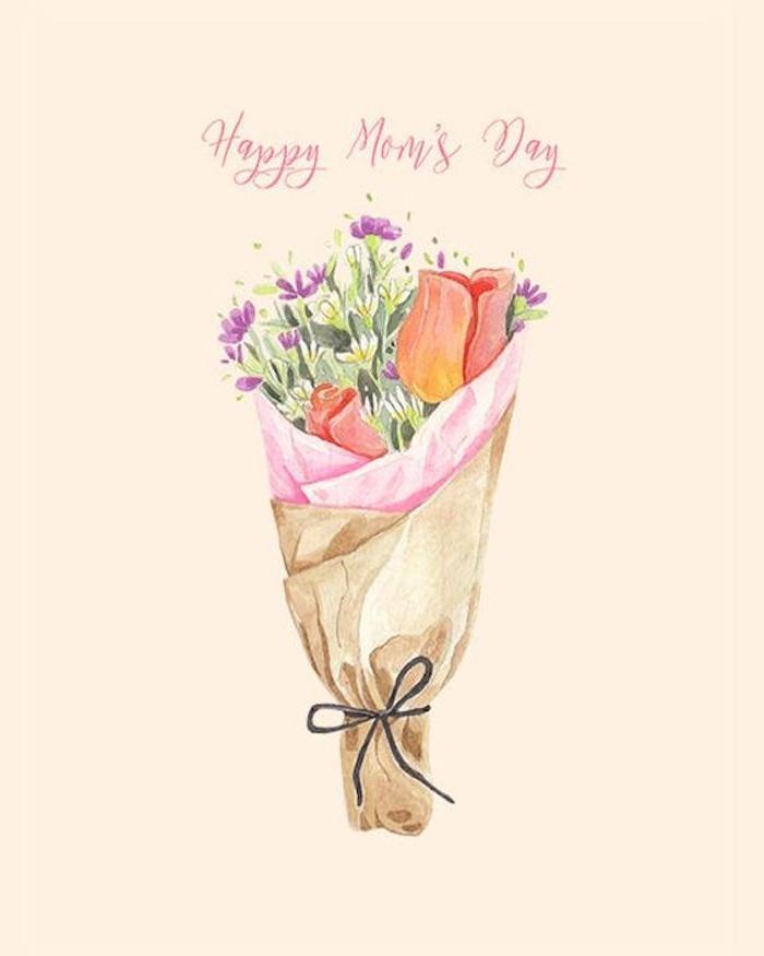 idée de dessin aquarelle pour la fete des mères bouquet de fleurs
