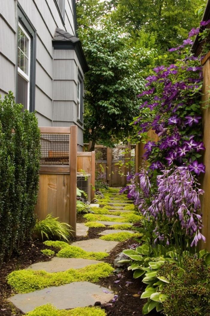 idee amenagement jardin avec chemin zigzag gazon mur végétal cloture bois haies fleures façade