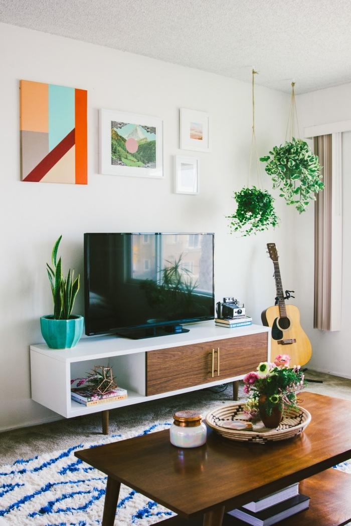 idee deco meuble tv avec plantes vertes intérieur boho moderne table basse bois foncé suspension plante