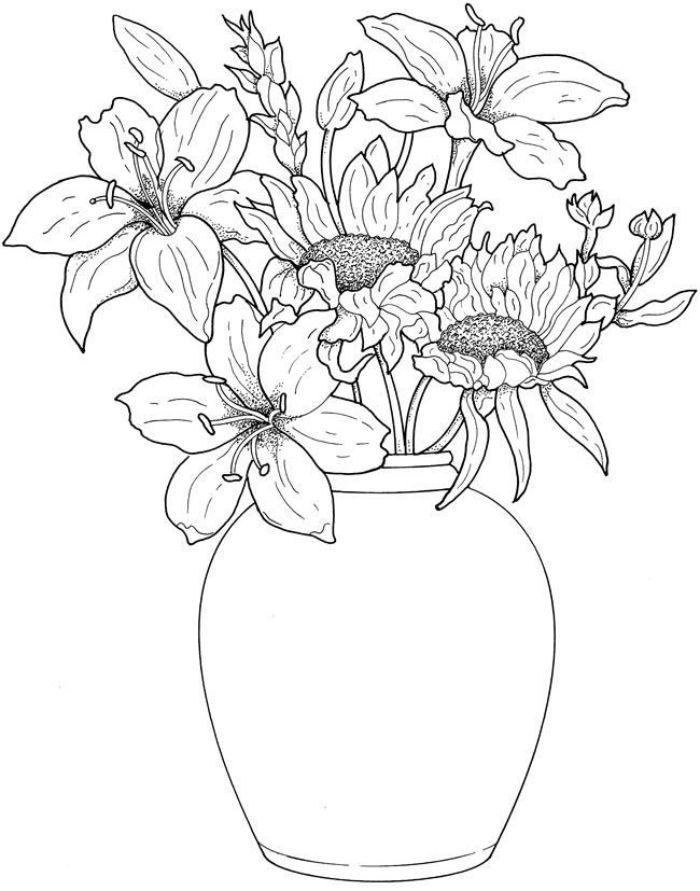 image nature noir et blanc dessinée au crayon tournesols et liliums dans un vase style nature morte