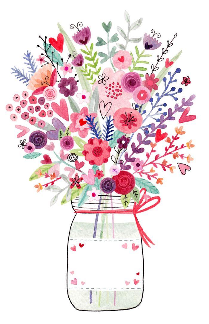 image saint valentin avec des plantes colorés nature aquarelle coeurs dans pot en verre