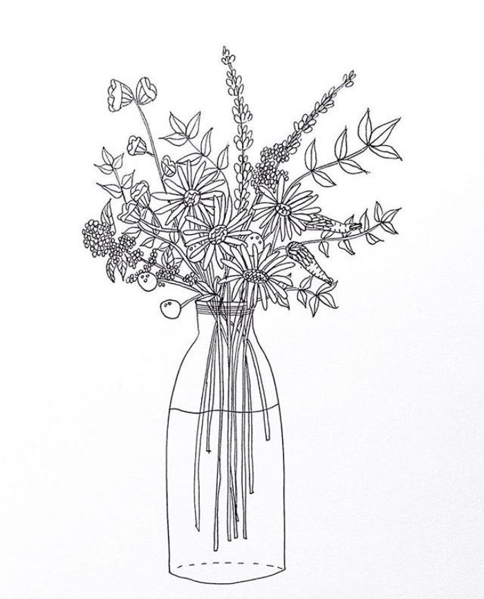 imprimer coloriage fleurs champetres sauvages dans une bouteille en verre nature à la maison