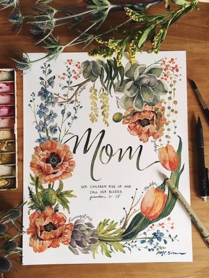 jolie carte fête des mères entouré de verdure et une palitre de peintures