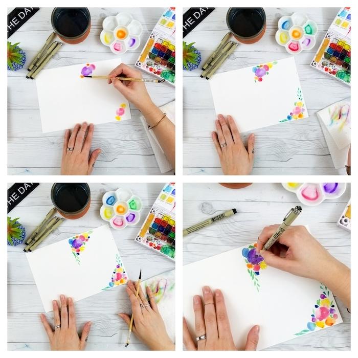 les étapes a suivre pour faire une carte en aquarelle pour la fete des meres