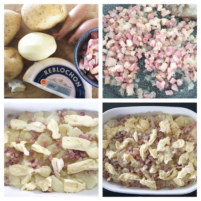 les etapes pour préparer une tartiflette au camember avec pommes de terre et lardons