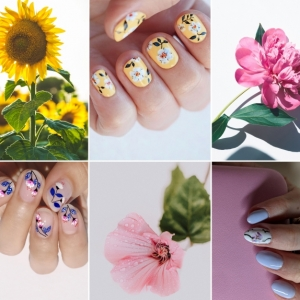 manucure motifs floraux nail art dessin fleur facile a faire vernis de base transparent