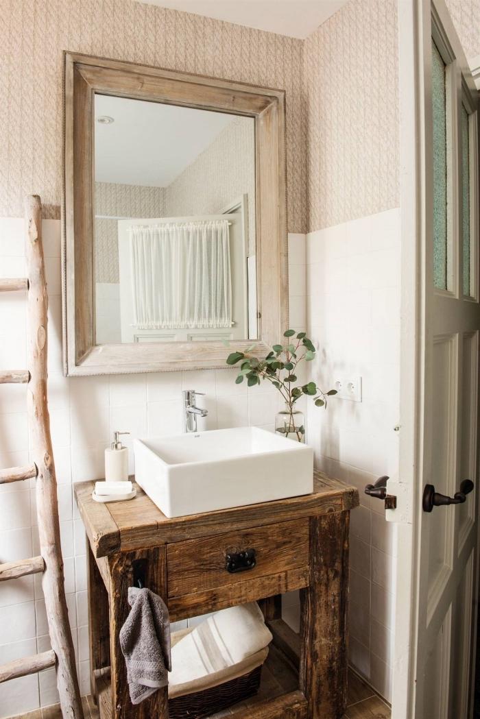 meuble sous lavabo bois brut miroir rectangulaire échelle rangement serviette meuble salle de bain rustique